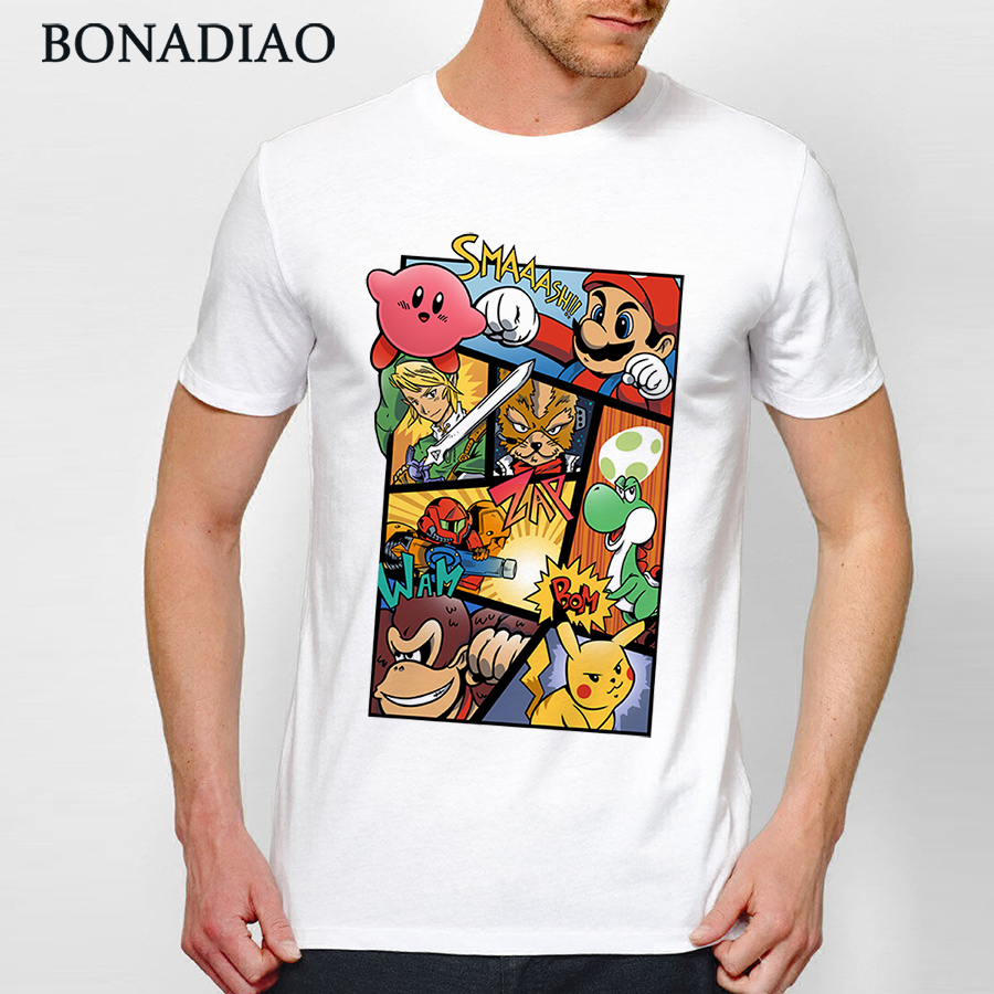 Round Neck Good Dairanto Super Smash Mario Bros T-shirt For Man Kirby Link T Shirt S-6XL Big Size Casual Popular T-shirt