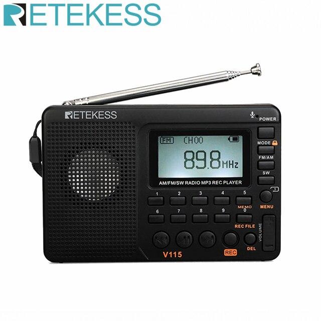 Retekess V115 odbiornik radiowy FM/AM/SW dźwięk basowy odtwarzacz MP3 nagrywarka REC Radio przenośne z wyłącznik czasowy karta TF przenośny kieszonkowy