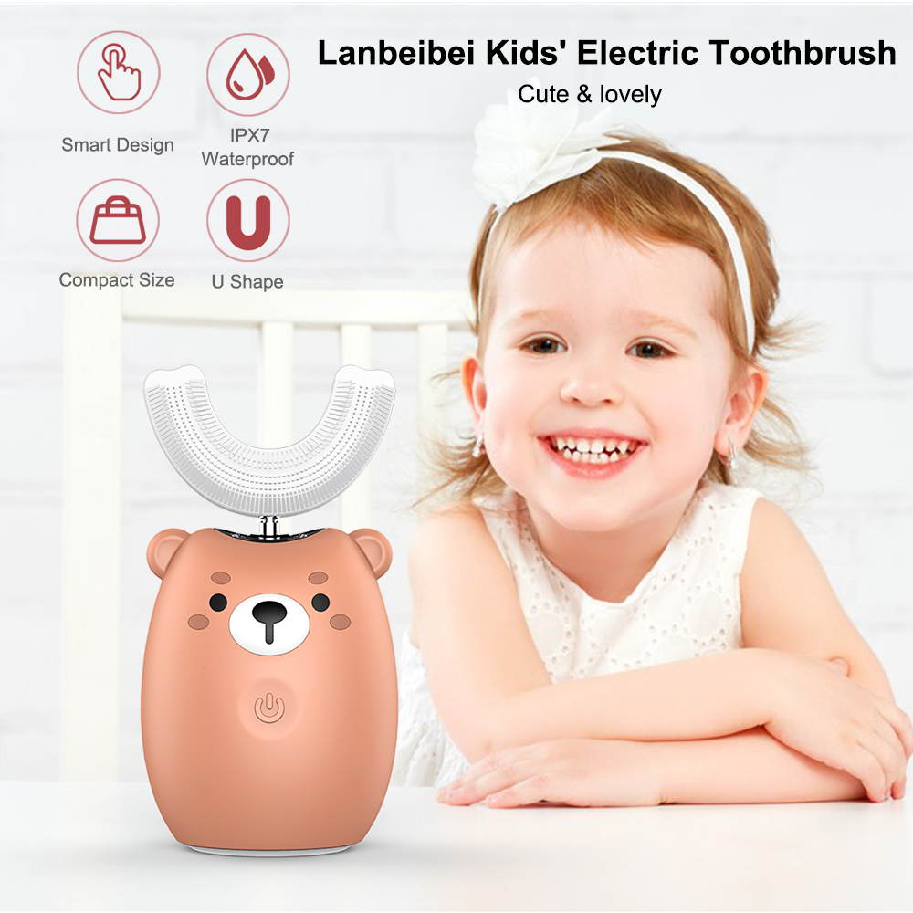 Kids' Toothbrush Rechargeable Smart Sonic Toothbrush with U Shape Brush Head Mouth Cup Silicone Soft Bristles Oral Care