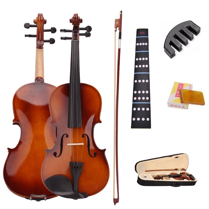4/4 Full Size Natural Acoustic Violin Fiddle With Case Bow Rosin Mute Stickers Solid wood Violin for music lovers-1
