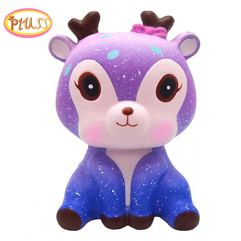 Cute Galaxy Deer Animal Squishy Cream Scented Squeeze Toys Strap Funny Gadgets Anti Stress Novelty Toy Giift Kids