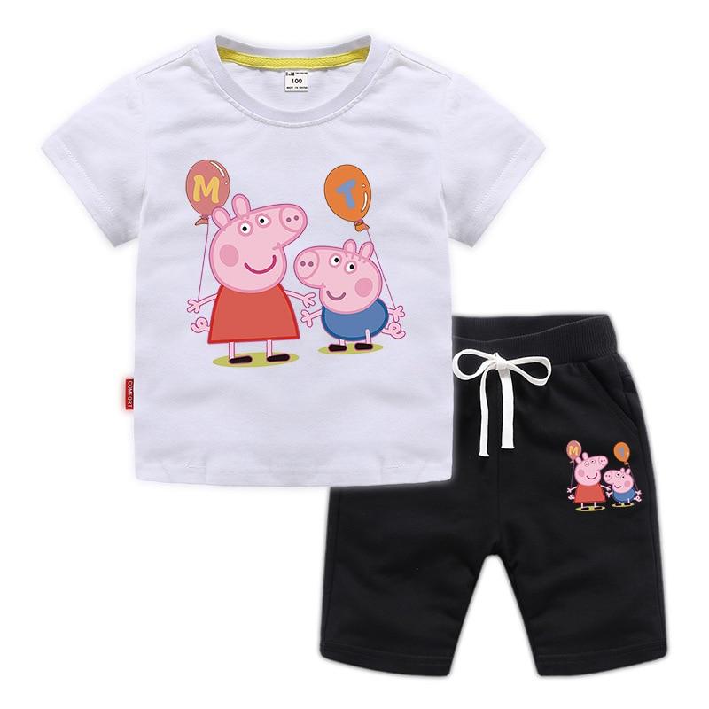 Peppa Pig Summer Boys Girl Baby Children Costume T-shirts Sets Short Sleeve Sport Cartoon T Shirt Pants Clothing Set 1-8Y