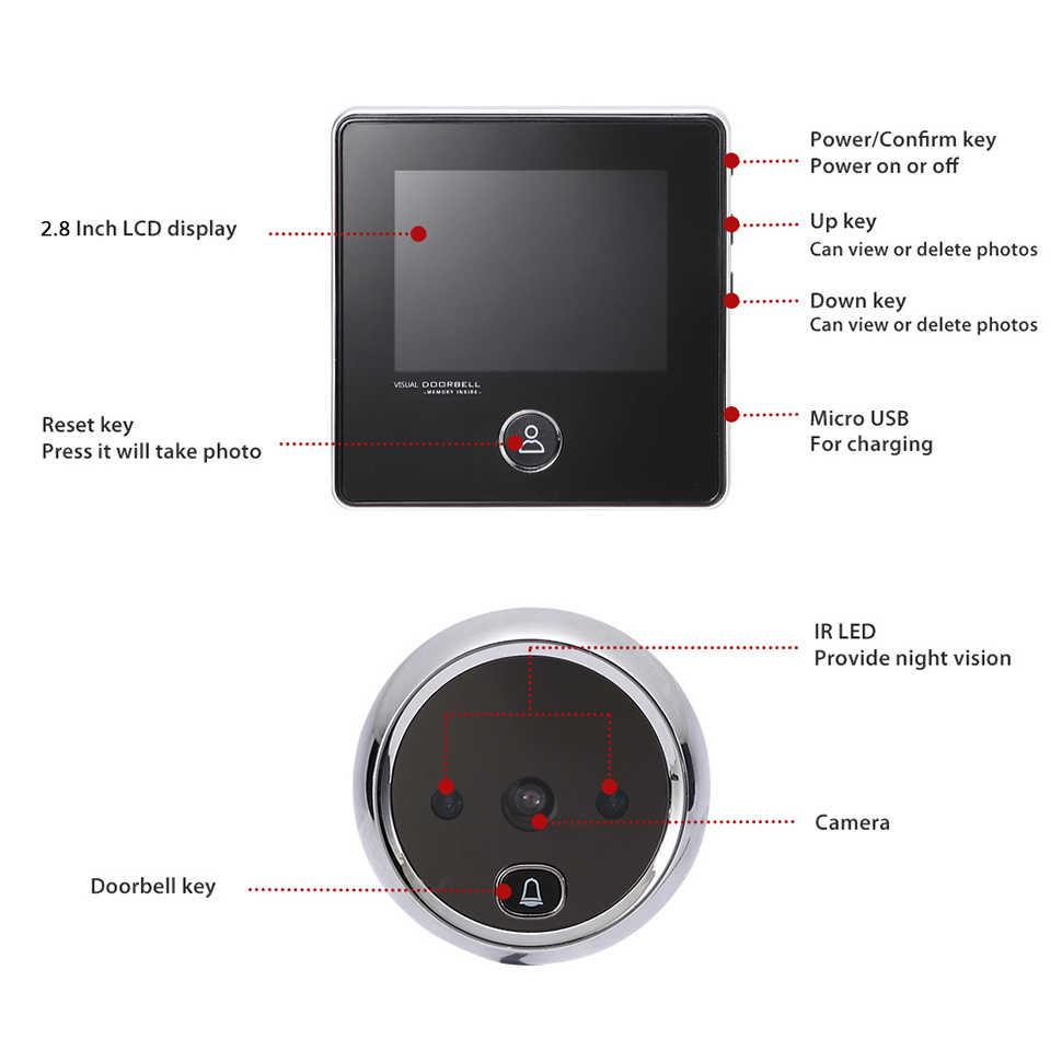 """KAK 2.8 """"شاشة LCD مراقب الباب الإلكترونية جرس IR ليلة باب كاميرا صور تسجيل مراقب باب رقمي مراقب الباب الذكية ثقب الباب الجرس"""