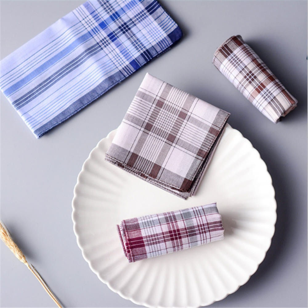 Retro Square Plaid Stripe Handkerchiefs Men Classic  Pocket Cotton Towel For Wedding Party Classic Pattern Send By Random