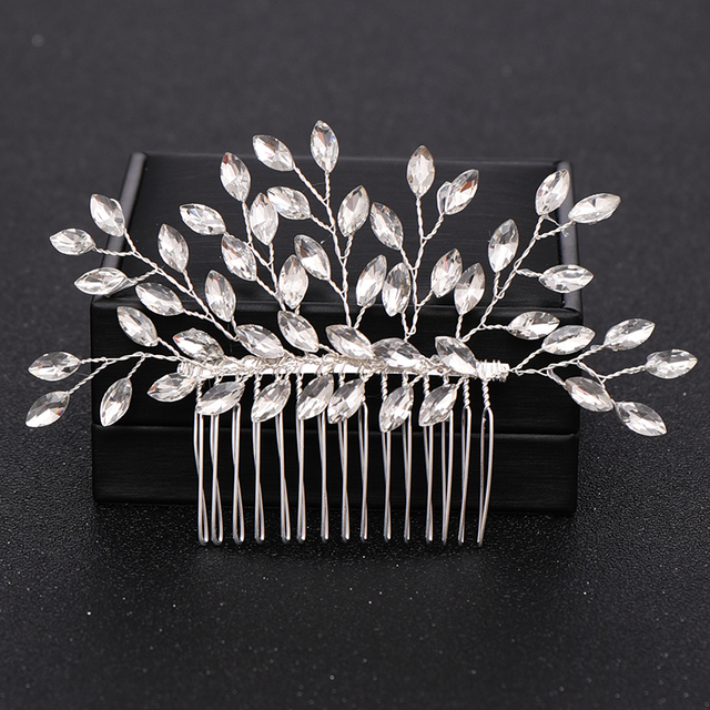 Silver Color Pearl Crystal Wedding Hair Combs Hair Accessories for Bridal Flower Headpiece Women Bride Hair ornaments Jewelry 5