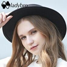 Ladybro تقليد الصوف قبعة الرجال المعجل قبعات مسطحة للنساء ورأى قبعة بحافة واسعة قبعة النساء قبعة الإناث Chapeu Feltro الرامي المقامر