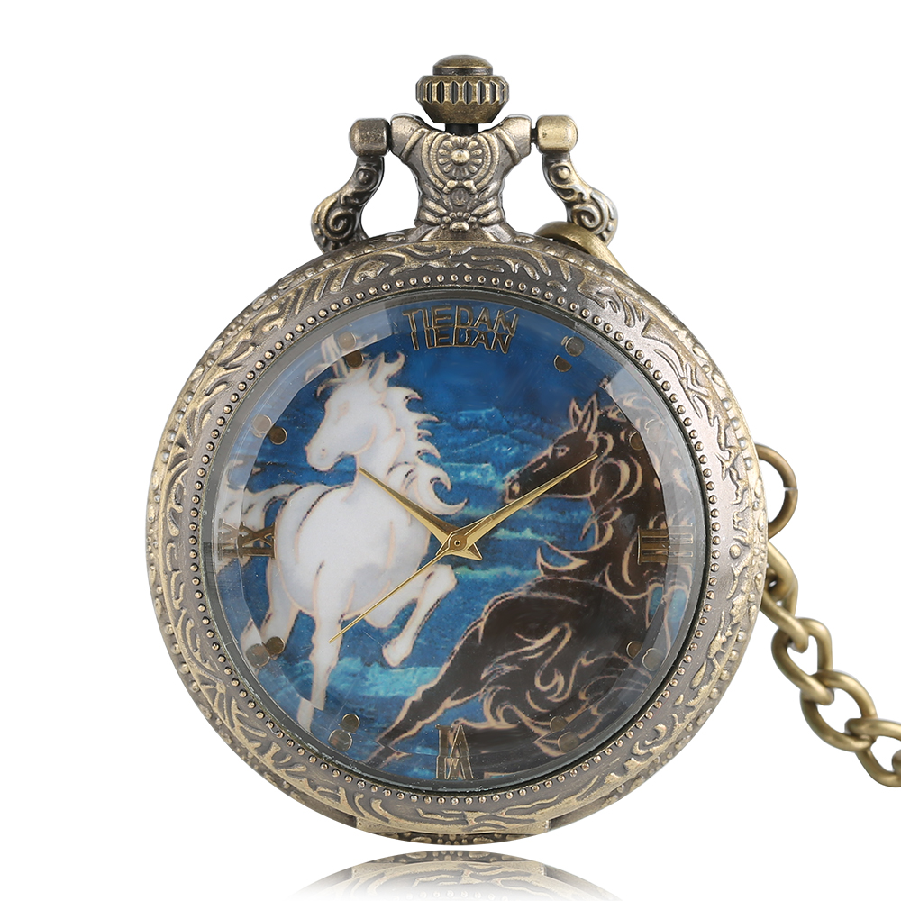 Luxury Horse Design Quartz Fob Pocket Watch With Pendant Sweater Necklace Chian Gift To Women Ladies