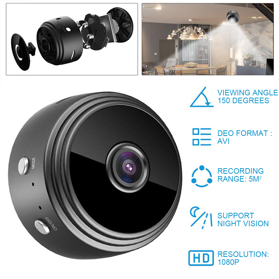 1080P Mini Wifi Camera A9 Wireless Camera Home Security Surveillance Camera Motion Detection IR Night Vision App Remote Monitor