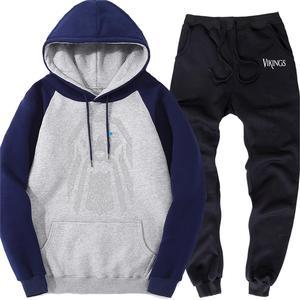 Image 2 - Mens Raglan Set Fleece Odin Vikings Brand Clothes Warm Hoodie Sports Pants Men Sweatsuits Casual Street Tracksuit Two Piece Sets