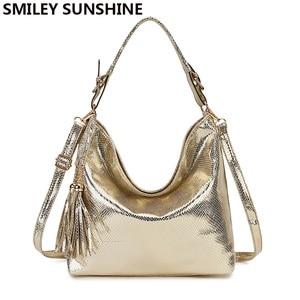 Image 1 - Gold Fashion Women Leather Handbags Female Shoulder Bag Ladies Hand Bags Purses and Handbags Large Crossbody Bag for Women 2020