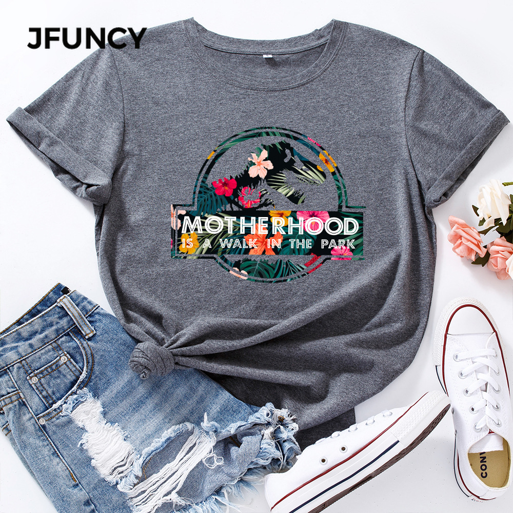 JFUNCY Casual Cotton T-shirt Women T Shirt Motherhood Letter Printed Oversized Woman Harajuku Graphic Tees Tops 6