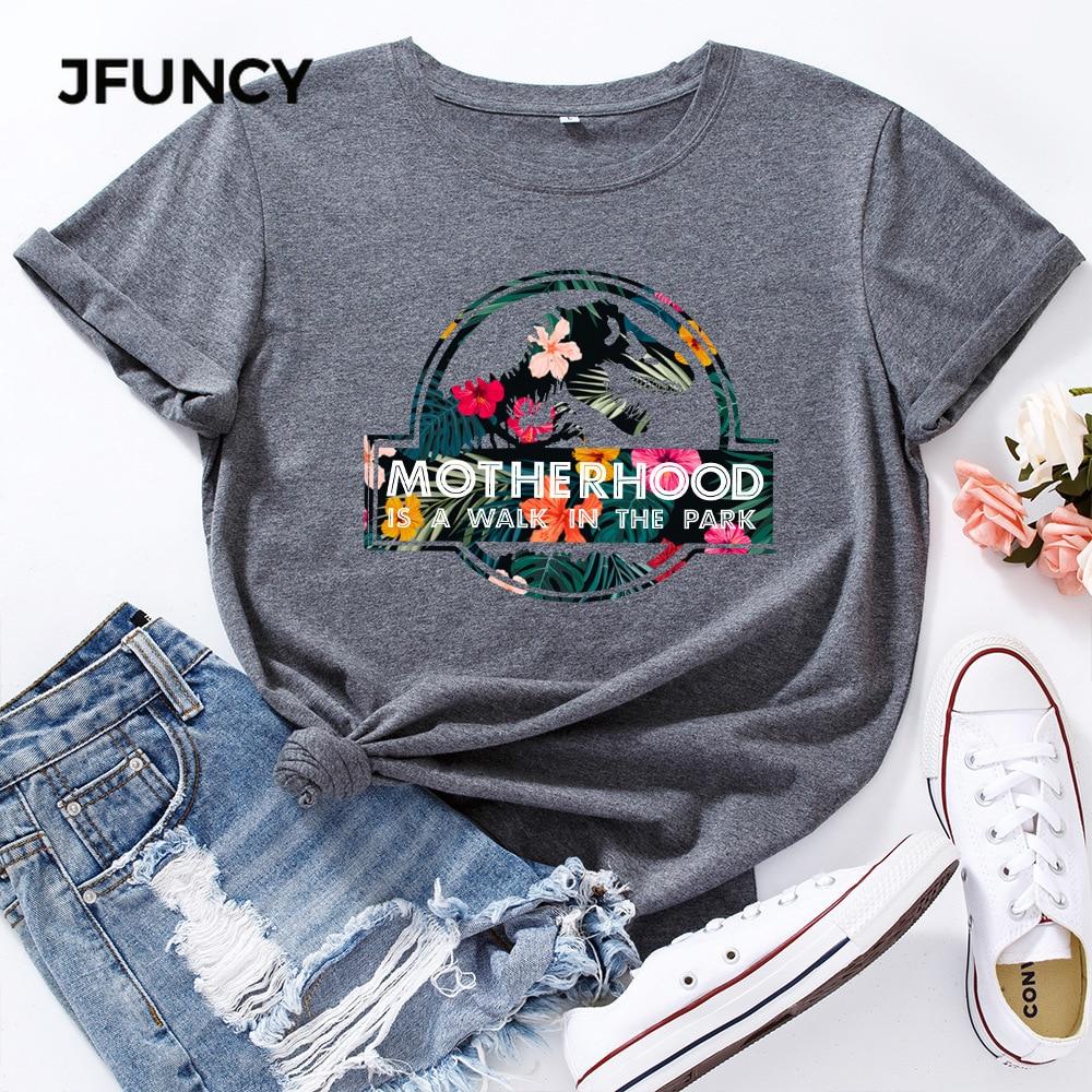 JFUNCY Casual Cotton T-shirt Women T Shirt Motherhood Letter Printed Oversized Woman Harajuku Graphic Tees Tops 6