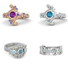 I & FDLK-anillos de banda para mujer, 4 estilos con piedra redonda de circón Blanco/azul, anillos y joyas para boda, artículo Simple
