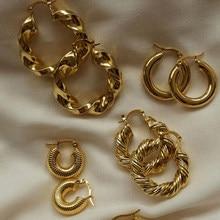 Boucles d'oreilles créoles pour femmes, nouveau Style Vintage sans ternissement, plaqué or 18k, vis torsadées lisses, en acier inoxydable, 2021