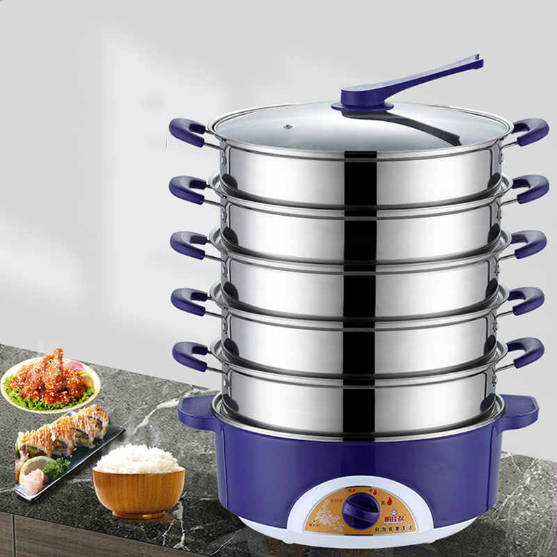 1-6 Layers 304 Stainless Steel Electric Food Steamer Pot Stainless Steel Food Pan Rice Bun Steamer Steam Cooker Instant Pot