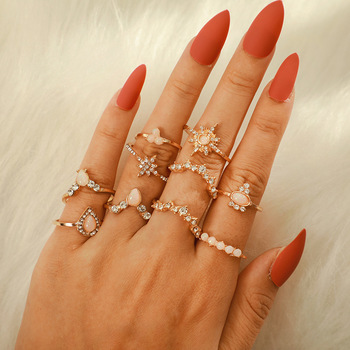 Fashion trend star crown protein multi-alloy fashion temperament joint set ring female gift image
