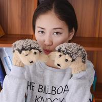 1 Pair Cartoon Winter Women Girls Gloves Women Hedgehog Wrist Mittens Glove Knit Warm Fitness Gloves