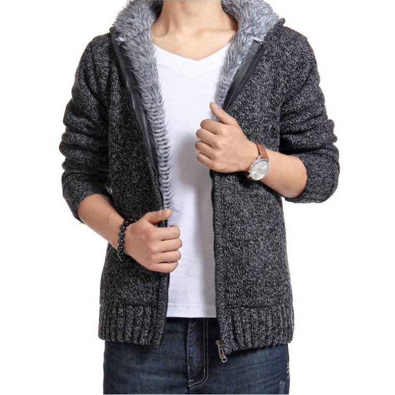 Autumn Winter Men's Thick Sweatercoat Collar Zipper Sweater Coat Outerwear Winter Fleece Cashmere Liner SweatersTurn-down Collar