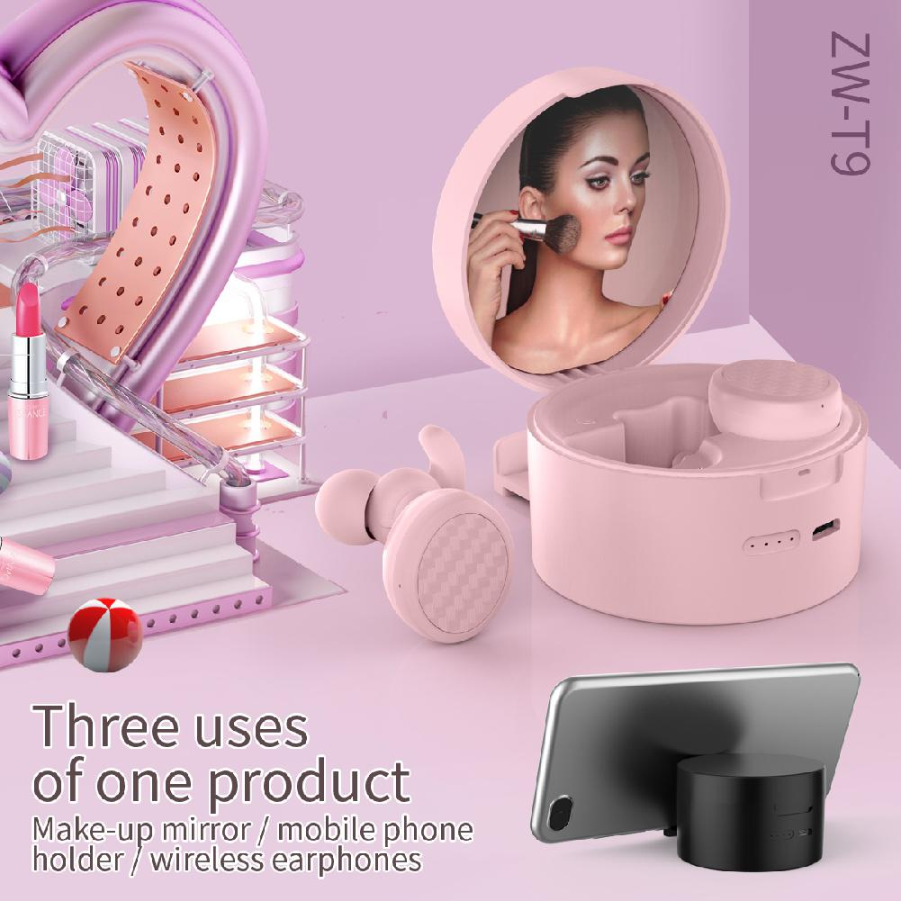 <font><b>TWS</b></font> Bluetooth <font><b>5.0</b></font> True Wireless Earphone Cosmetic Mirror Multifunction Stereo Hifi Music Button Control Headset Phone Bracket image