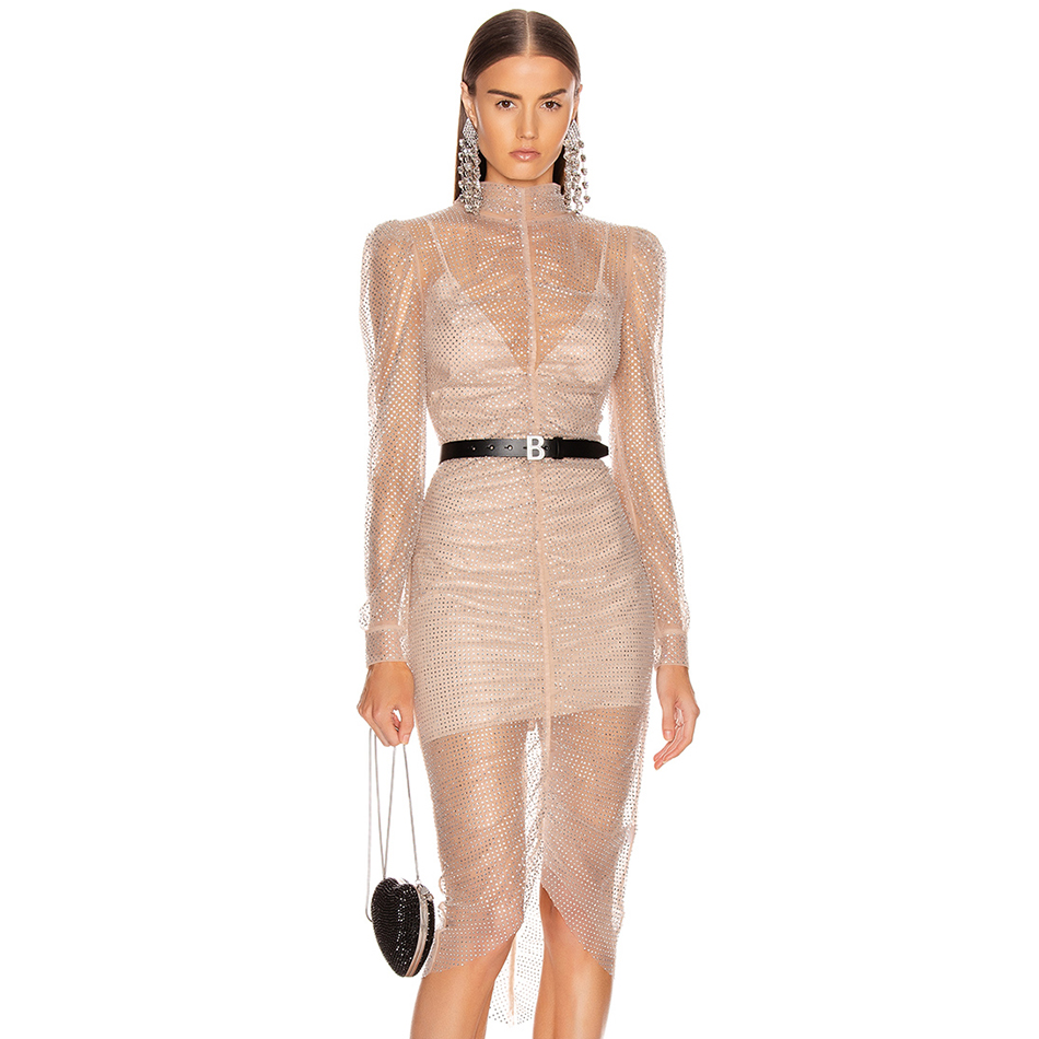 Adyce 2020 New Bandage Dress Women Elegant Lace Up Apricot Evening Party Dresses Vestidos Sexy Bodycon Club Wear Long Midi Dre