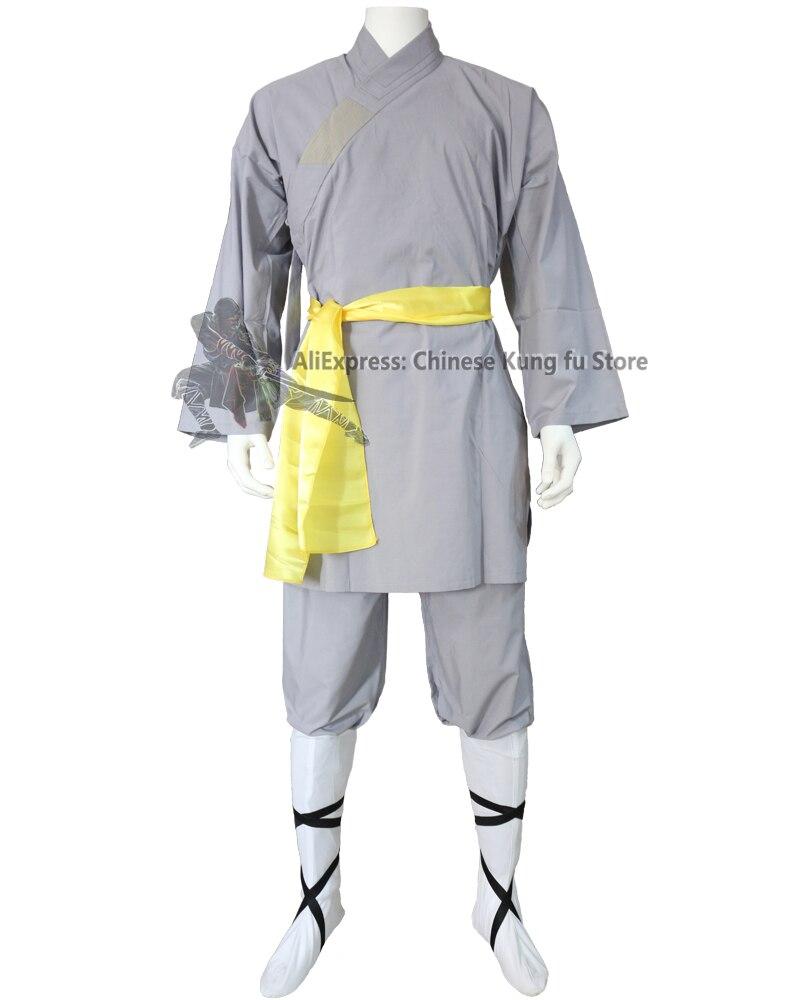 Популярный серый хлопковый Халат-монах шаолин, униформа кунг-фу, крыло Чунь, боевые искусства, костюм тай-чи