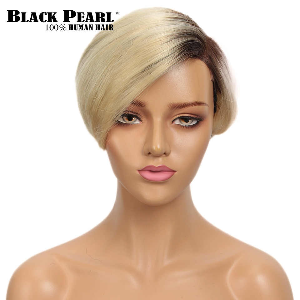 Black Pearl Short Human Hair Wigs 613 Blonde Lace Curved Part Wig 100% Remy Brazilian Hair Wigs