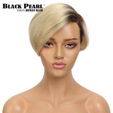Black Pearl Short Human Hair Wigs 613 Blonde Lace Curved Part Wig 100% Remy Brazilian Hair Wigs(China)