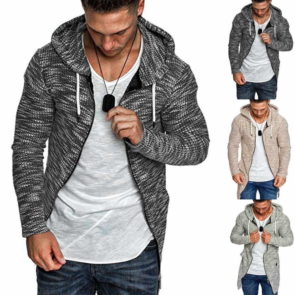 2019 new Men Splicing Hooded Solid Trench Coat Jacket Cardigan Long Sleeve Outwear Blouse