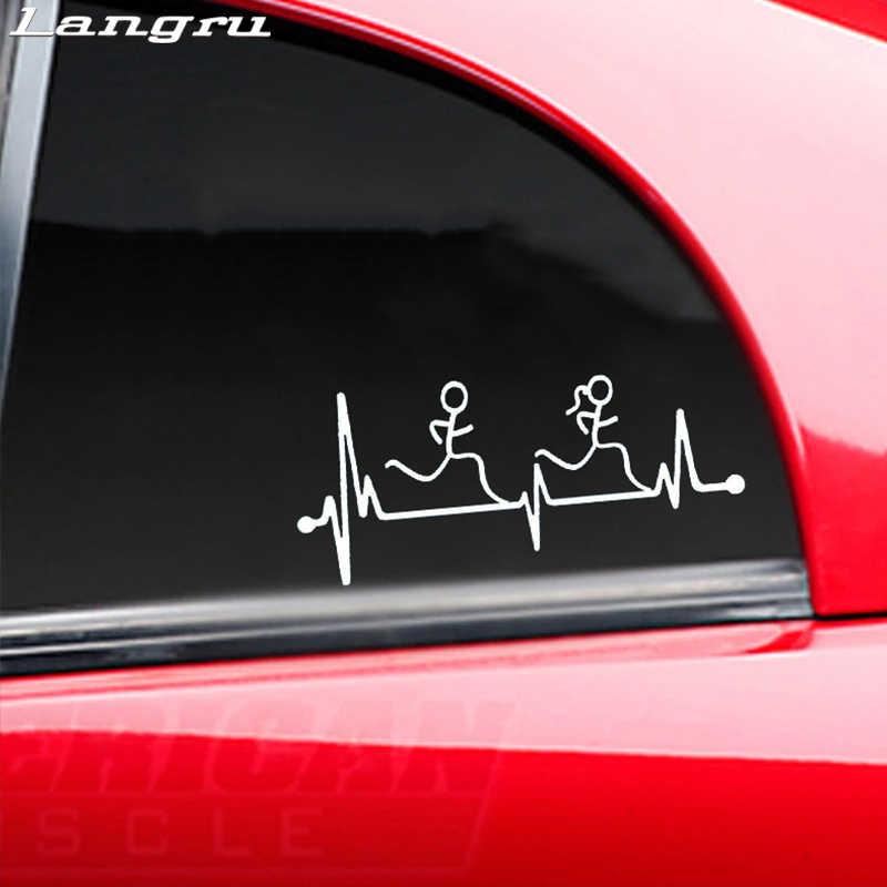 Langru לרוץ בחור ילדה פעימות לב רץ ריצת אמנות ציור רכב מדבקות ויניל דקור מדבקות Jdm