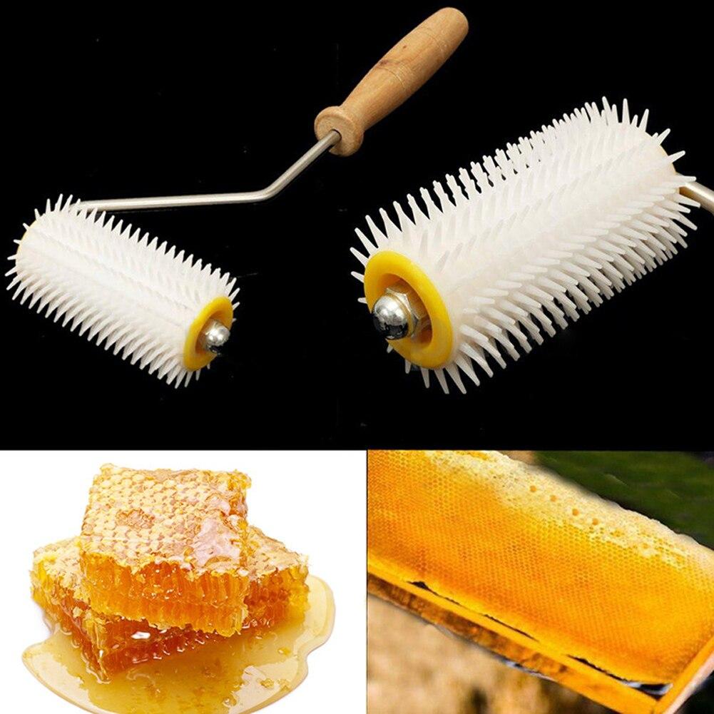 Bee Honey Extracting Uncapping Needle Roller Plastic+ Wooden Beekeeping Comb Tools Kit Home Garden Supplies