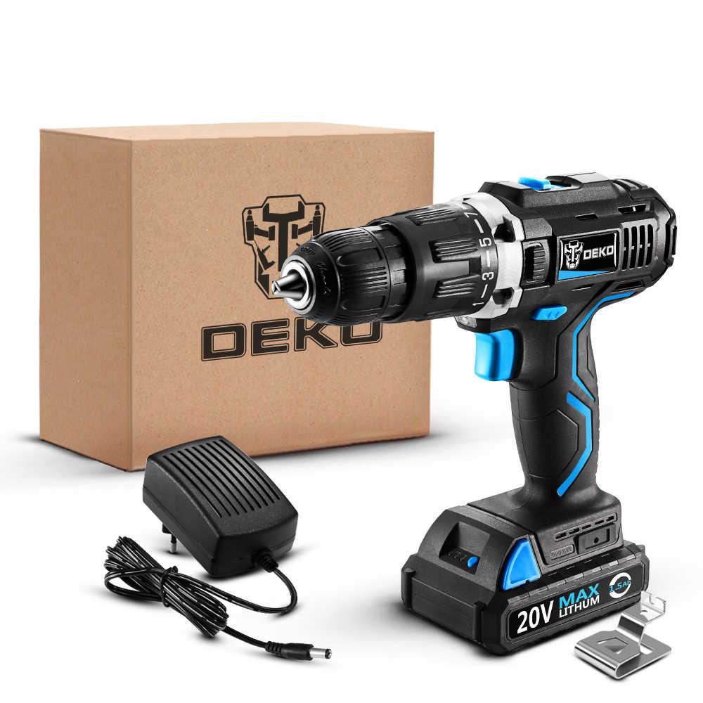 DEKO GCD20DU3 SET1 20 فولت المنزلية النجارة بطارية ليثيوم أيون اللاسلكي سائق الحفر أدوات طاقة كهربائية الحفر حفار كهربائي