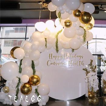 147 sztuk Diy Lady biały ślub ozdobny balon Garland Arch zestaw 4D złota folia aluminiowa Globos Baby 1St dekoracje urodzinowe tanie i dobre opinie TEAEGG Tak ( 50 sztuk) ROUND wedding decoration Ślub i Zaręczyny Chrzest chrzciny Na Dzień świętego Patryka do ujawnienia płci