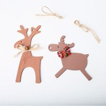 10pcs Wooden Elk Deer Bow Pendant Christmas Tree Hanging Ornament Home Holiday Party Decoration DIY Crafts