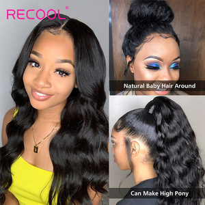 Image 4 - Recool HD Lace Frontal Wig 30 Inch Body Wave Lace Front Human Hair Wigs 13x6 Lace Front Wig 250 Density Hd Transparent Lace