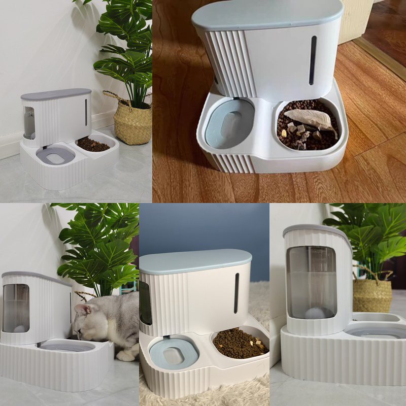 Pet Cat food bowl 3LDog Automatic Feeder with Dry Food Storage Cat Drinking Water bowl High Quality Safety Material pet supplies 5