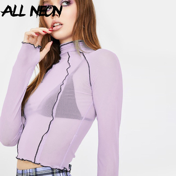 ALLNeon Vintage Ruffle Hem Transparent Crop Tops Sweet Patchwork Turtleneck Long Sleeve with Gloves Mesh T-shirts E-girl Y2K Tee boys solid tee with rolled hem jeans