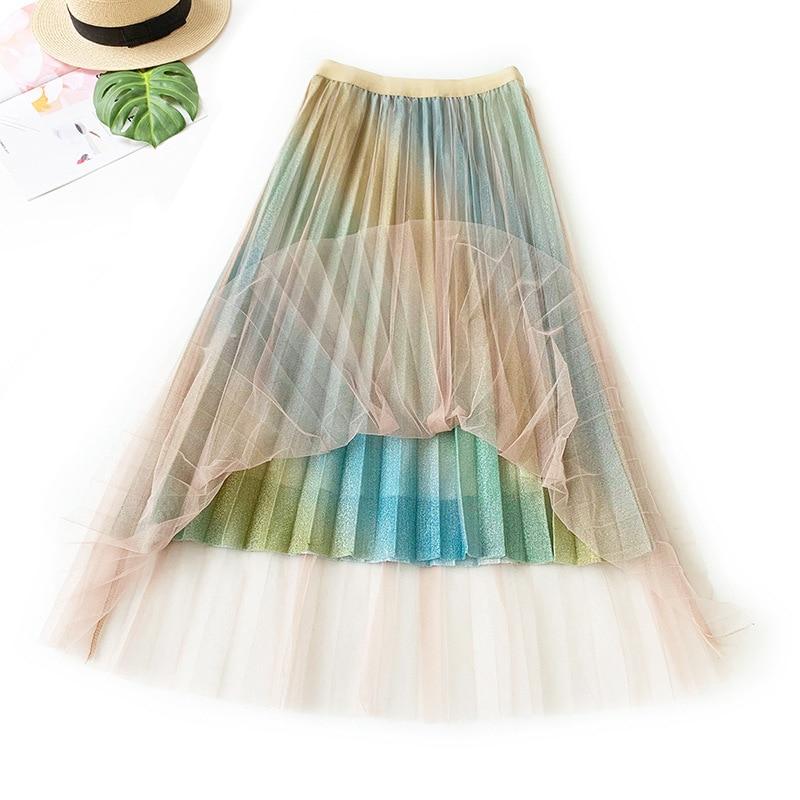 Ink Color Women Vintage Long Rainbow Skirts Fashion Patchwork Pleated Mesh Skirt Female Bottom Big Swing Long Skirts Faldas