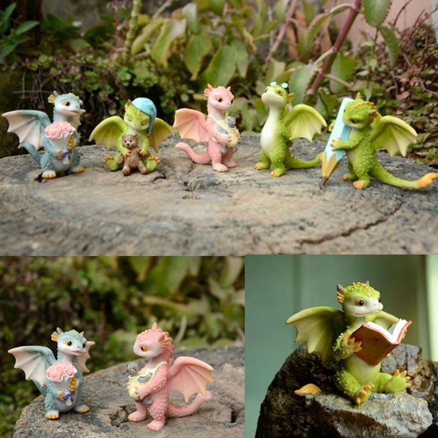 Original Design Cute Dragon Ornament Status Dinosaur Sculpture Home Desktop Decoration Magic Animal Doll Gift
