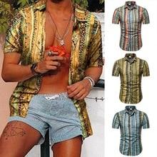 MJARTORIA летняя мужская рубашка цветочный печатных стенд воротник хлопок белье полосы с коротким рукавом Гавайская Хенли