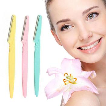 ELECOOL 3 sztuk partia trymer do brwi twarzy brwi golarka Remover Blade Razor depilator makijaż uroda narzędzia dla kobiet tanie i dobre opinie CN (pochodzenie) Nieelektryczne Eyebrow Trimmer A1128 plastic
