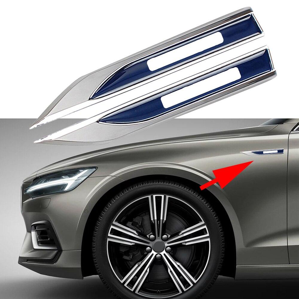 2pcs For Volvo Logo Sticker For XC80 S40 XC90 C70 S80 S90 V50 V60 V70 V90 Side Fender Emblem Letter Blade Decor Auto Accessories