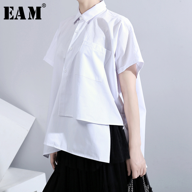 [EAM] Women White Irregular Split Big Size Blouse New Lapel Short Sleeve Loose Fit Shirt Fashion Tide Spring Summer 2020 1U635