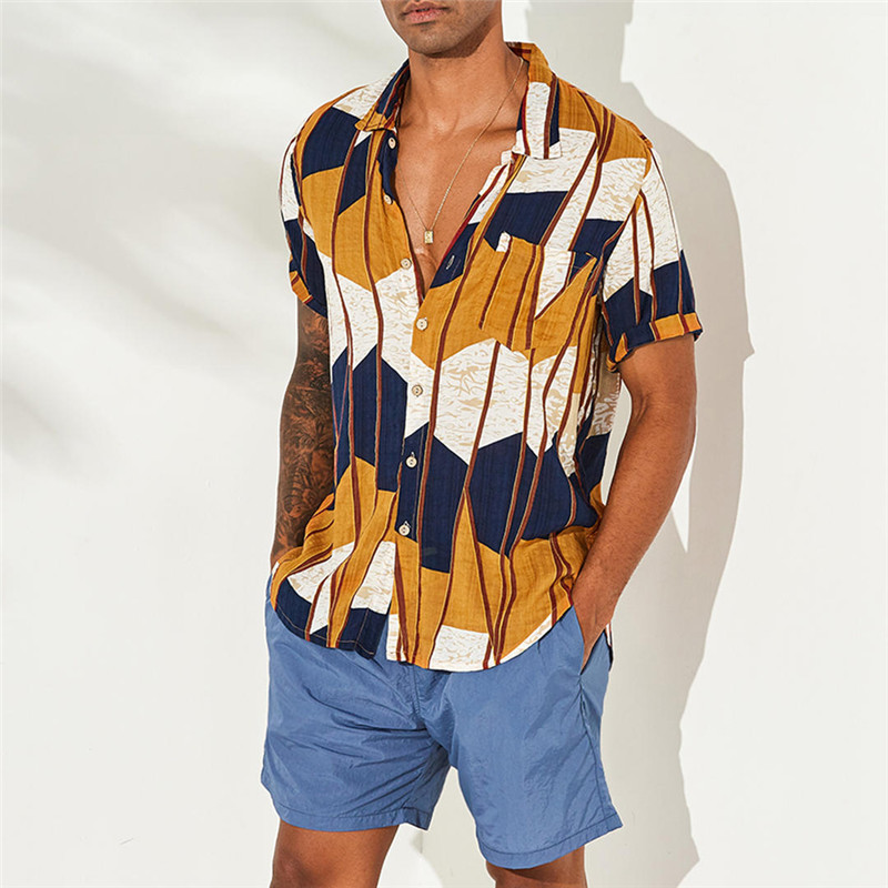 2020 New Men Floral Print Short Sleeve Beach Hawaiian Shirt Summer Holiday Shirt Short Sleeve Loose Causal Shirt Male Shirt Tops