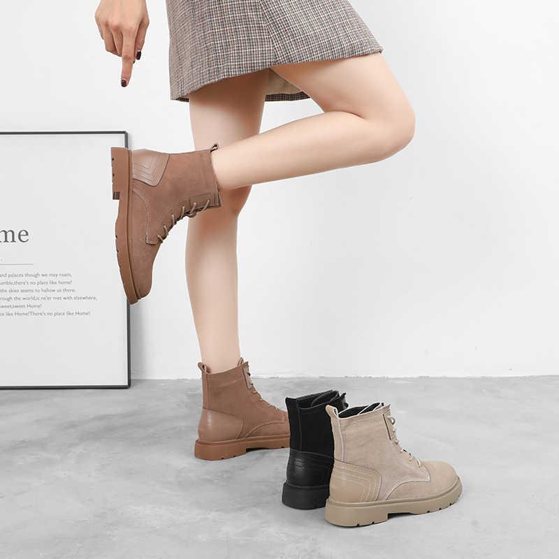 Mùa Đông Cổ Chân Giày Bốt Thời Trang Nữ Đế Bằng Da Lộn Thoải Mái Boot Phối Ren 2019