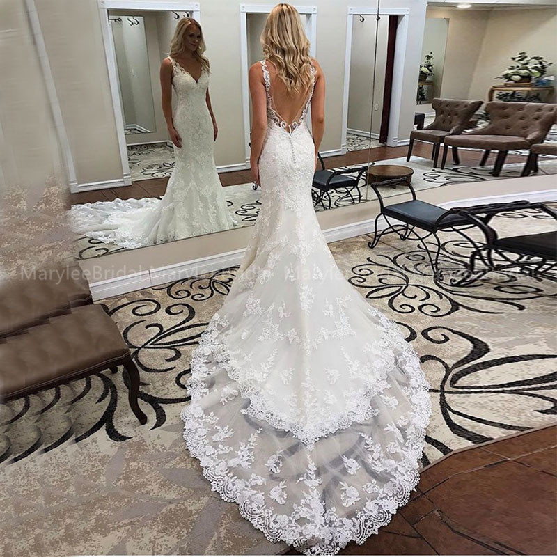 Elegant Mermaid Wedding Dresses Deep V-neck Lace Appliques Vestido De Noiva Sereia Bride Dress Backless Trumpet Vestido De Noiva