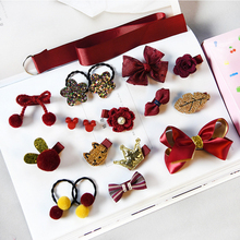 16pcs/set Cute Children Little Girls Hair Accessories Pearl Princess Headwear Colorful Clips ropes not hurt the hair