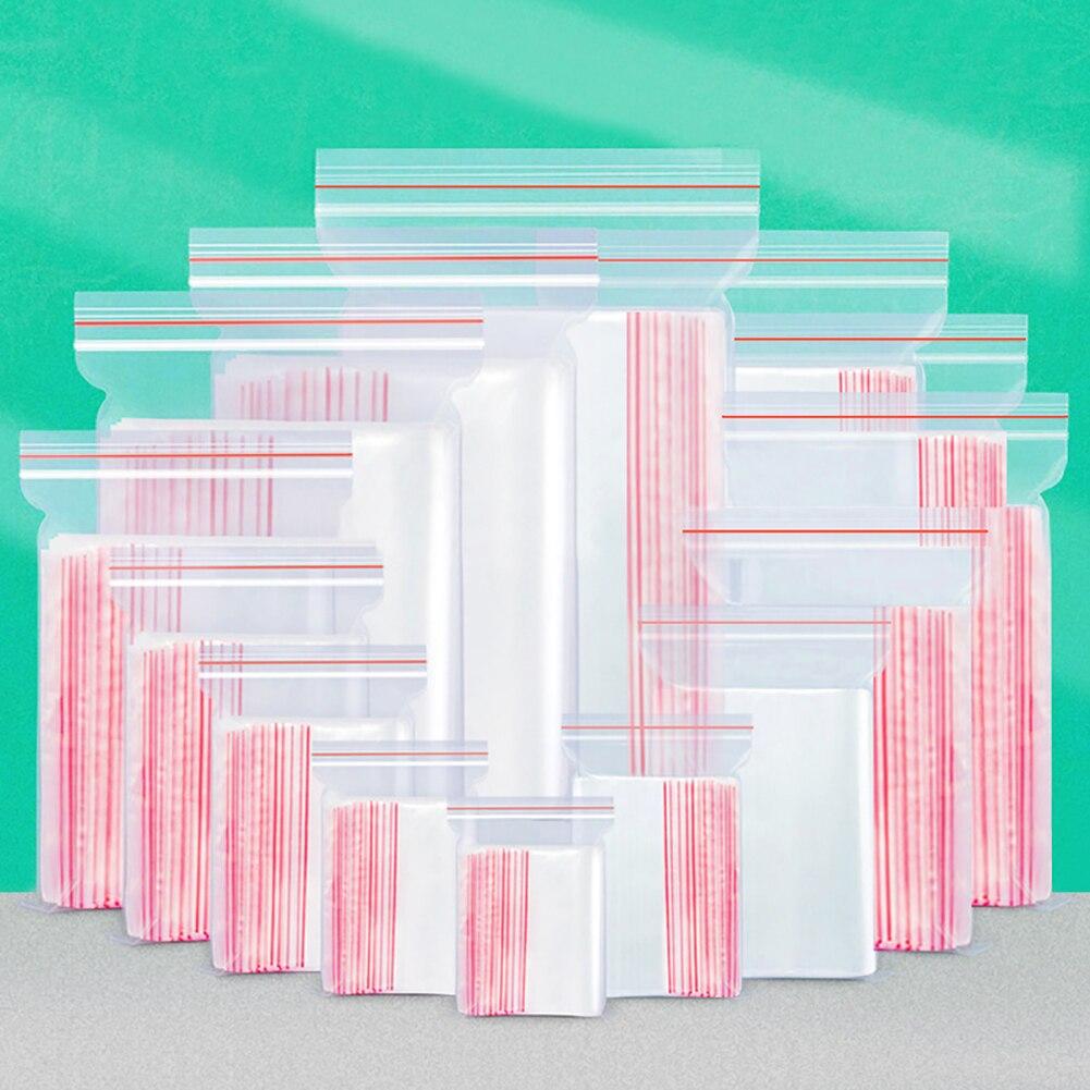 100 шт пластиковые пакеты для ювелирных изделий Ziplock замок на молнии многоразовый поли чистый упаковочный мешок разного размера