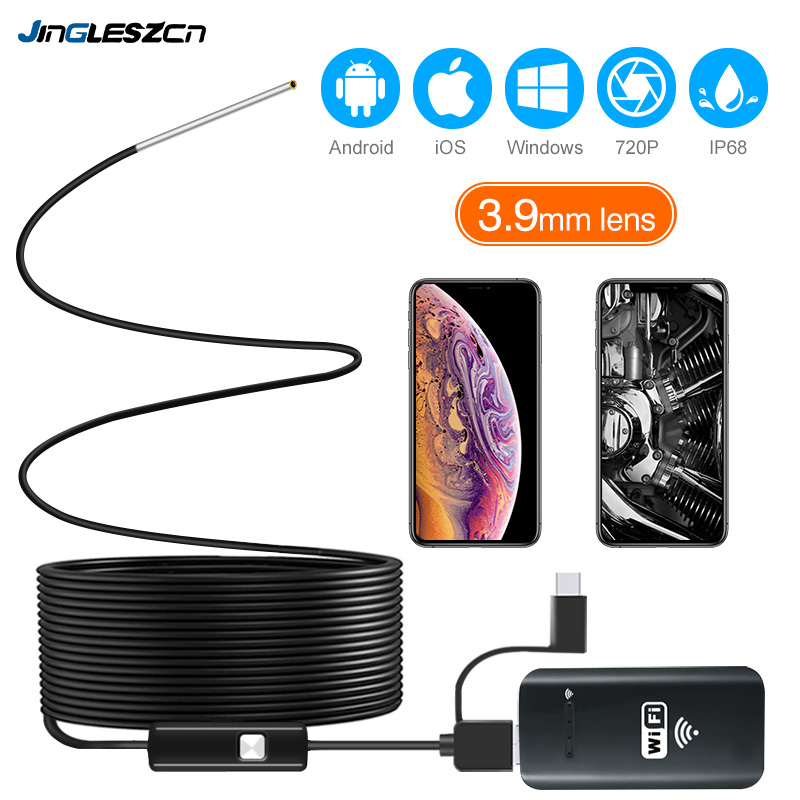 3.9MM Wifi Borescope Endoscope Camera IP67 Waterproof 2000mAh Semi-Rigid Snake Camera For Android And IPhone, IOS Samsung PC
