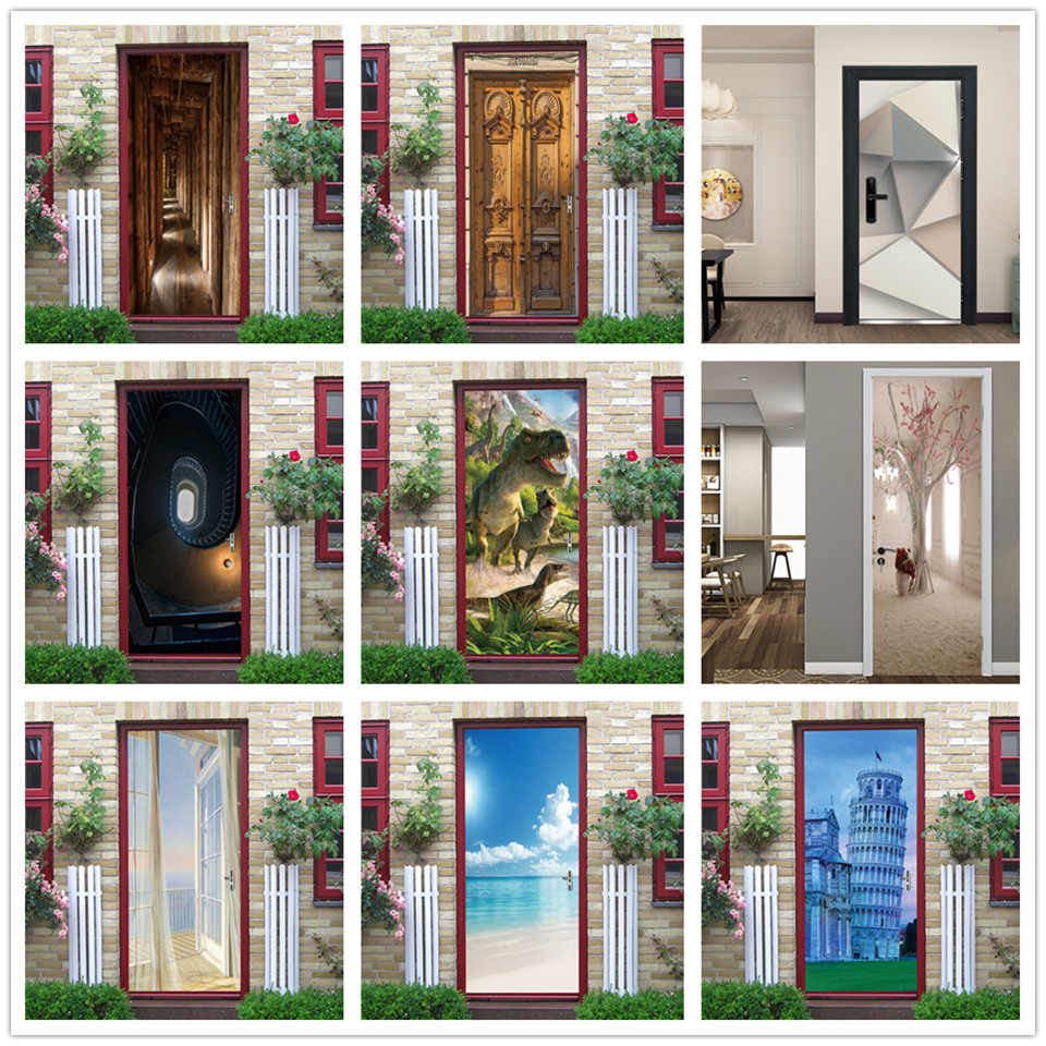 3D View Stickers On The Doors Vinyl DIY Self Adhesive Waterproof Wallpaper Wood Door Renovation Poster Home Design Deursticker
