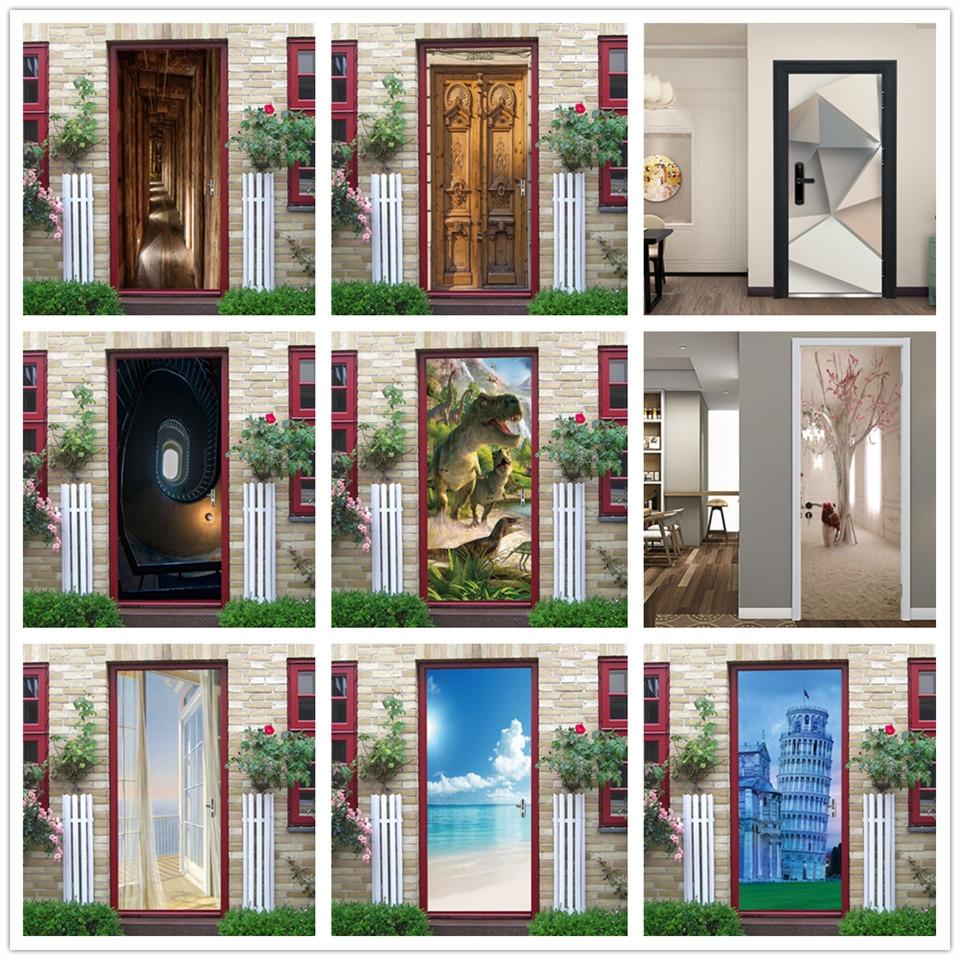3D View Stickers On The Doors Vinyl DIY Self Adhesive Waterproof Wallpaper Wood Door Renovation Poster Home Design Deursticker